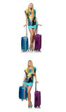 The travel vacation concept with luggage on white Royalty Free Stock Image