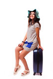 Travel vacation concept with luggage on white. Royalty Free Stock Photo