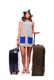 Travel vacation concept with luggage on white. Stock Image