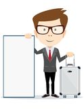 Travel vacation concept with luggage on white Stock Photography