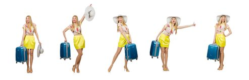Travel vacation concept with luggage on white stock photo
