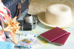 Travel vacation concept with passport and euro money Royalty Free Stock Photos