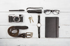 Travel,vacation  concept - set of cool stuff with camera and oth Stock Photos
