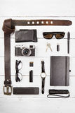 Travel,vacation  concept - set of cool stuff with camera and oth Stock Image