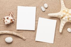 Travel vacation concept. With starfish, seashell and photo frames on sand backdrop. Top view with copy space. Flat lay royalty free stock image