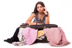 Travel vacation concept  teen with full luggage  on white. Royalty Free Stock Photos