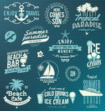 Travel and vacation emblems and symbols Stock Images
