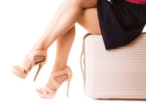 Travel vacation. Female legs and suitcase bag. Royalty Free Stock Photos
