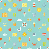 Travel vacation flat design seamless pattern. Royalty Free Stock Photography