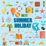 Travel vacation flat design set. Vector concept illustration. Tr Royalty Free Stock Image