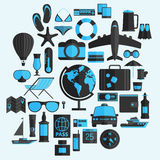 Travel vacation flat design set. Vector concept illustration. Tr Stock Photography