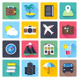 Travel and Vacation Flat Icon Set Royalty Free Stock Photos