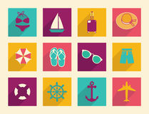 Travel and Vacation  flat icons. With modern long shadow Stock Photos