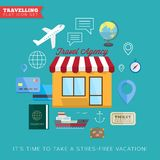 Travel and vacation flat vector icon set Royalty Free Stock Image
