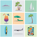 Travel, vacation, holiday. Icons. Elements for design. Travel, vacation, holiday. Icons. Elements for design: Palm tree, Yacht, Cocktail, the plane, suitcase Stock Photo