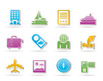 Travel, vacation and holidays icons Royalty Free Stock Images