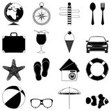 Travel and vacation icons. Set of 16 travel and vacation icons Royalty Free Stock Photography