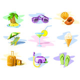 Travel and Vacation icons stock photo