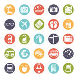 Travel and vacation icons in color circles Stock Photography