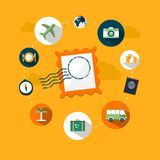 Travel and vacation icons. Icons and graphics related to travel and vacation or holiday Royalty Free Stock Images
