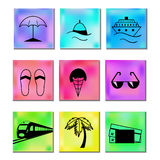 Travel and vacation Icons multicolored Royalty Free Stock Photo