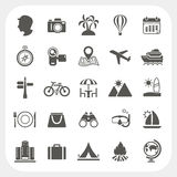 Travel and Vacation icons set Stock Images