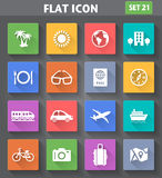 Travel and Vacation Icons set in flat style Royalty Free Stock Photo