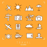 Travel and vacation icons set on orange background. vector illustration