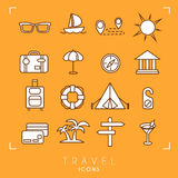 Travel and vacation icons set. Sunglasses, yacht, route, sun, suitcase, umbrella, museum, luggage, lifebuoy, camping tent, message royalty free illustration