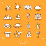 Travel and vacation icons set. royalty free illustration