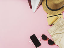 Travel and vacation items on table. flat lay Royalty Free Stock Photo