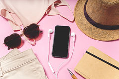 Travel and vacation items on table. flat lay Stock Photography