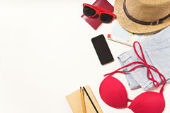 Travel and vacation items on table. flat lay Stock Images