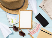 Travel and vacation items on table. flat lay Royalty Free Stock Photography