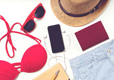 Travel and vacation items on table. flat lay Stock Photo