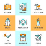 Travel and vacation line icons set. Line icons set with flat design elements of air flight travel, resort vacation, cruise ship, luxury relaxation, booking hotel Royalty Free Stock Photos
