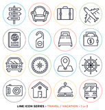 Travel and vacation line icons set Stock Photography