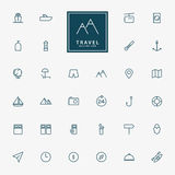 32 travel and vacation line icons. Vector Royalty Free Stock Photos
