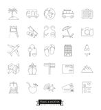 Travel and vacation line icons vector set Stock Photo
