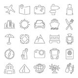 Travel and vacation line thin icons set for web and mobile design. Travel and vacation line thin icons set for web and mobile Stock Photos