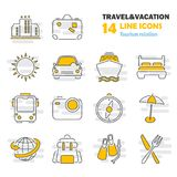 Travel and vacation line thin icons set for web and mobile design. Travel and vacation line thin icons set for web and mobile Stock Image