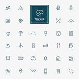 32 travel and vacation minimal line icons. Vector Stock Image