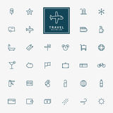 32 travel and vacation minimal outline icons. Vector Stock Image