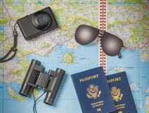 Travel vacation objects on a background Royalty Free Stock Image