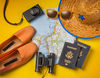 Travel vacation objects on a background Stock Images