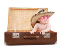 Travel, vacation and people concept - funny baby in sunglasses Royalty Free Stock Image