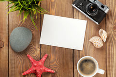 Travel and vacation photo frame and items Royalty Free Stock Photo