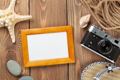 Travel and vacation photo frame and items Royalty Free Stock Image