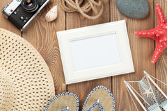 Travel and vacation photo frame and items Stock Photo
