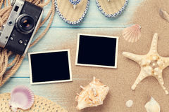 Travel and vacation photo frames and items Stock Photo